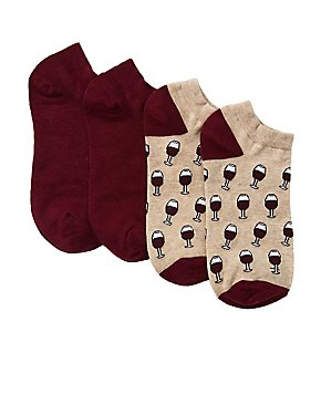 Wine Ankle Socks - 2 Pack