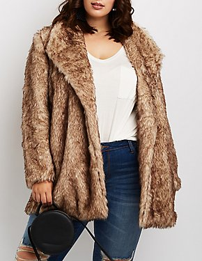 Plus Size Faux Fur Shawl Lapel Jacket