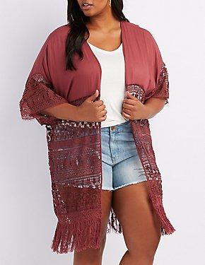 Plus Size Mixed Crochet Fringe Kimono