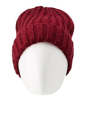 Metallic Lurex & Faux Fur Lined Beanie