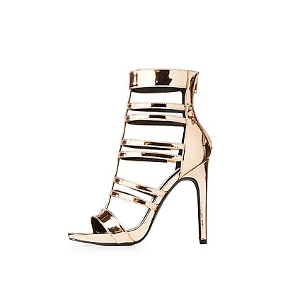 Metallic Faux Patent Leather Caged Dress Sandals