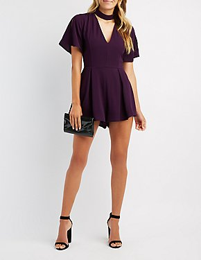 Choker Neck Pleated Romper