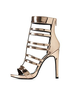 Wide Width Metallic Caged Sandals