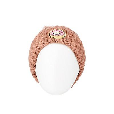 Donut Ribbed Knit Beanie