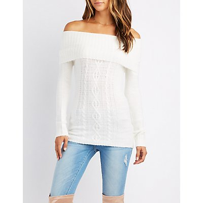 Cable Knit Off-The-Shoulder Sweater