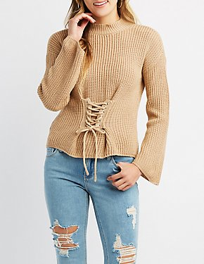 Shaker Stitch Lace-Up Pullover Sweater