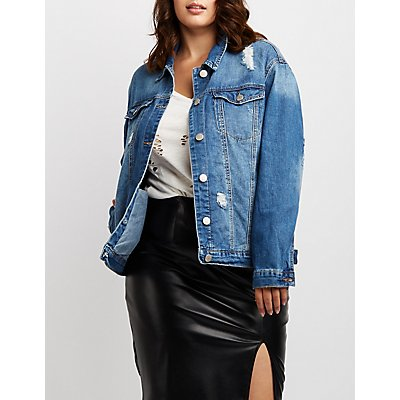 Plus Size Destroyed Denim Oversize Jacket