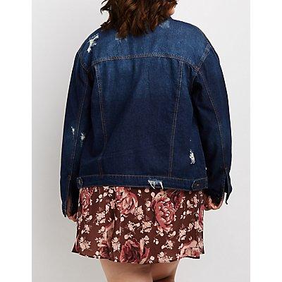 Plus Size Destroyed Denim Oversize Jacket