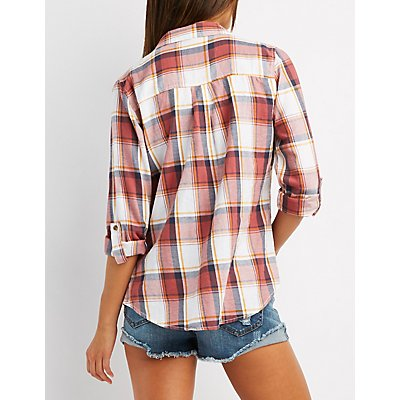 Destroyed Plaid Button-Up Shirt