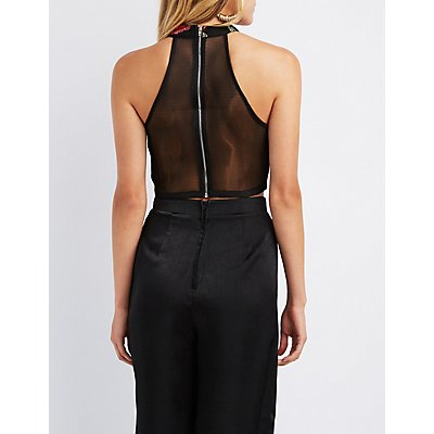Embroidered Mesh Bib Neck Crop Top