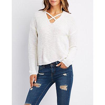 Caged Shaker Stitch Sweater