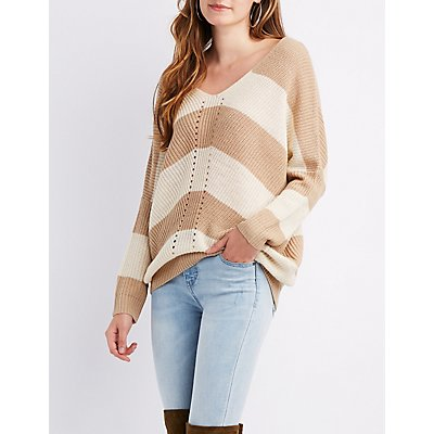 Striped Shaker Stitch Dolman Sweater