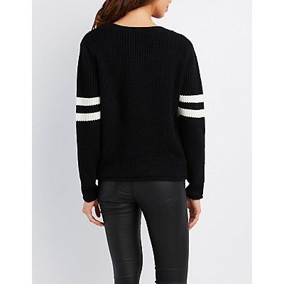 Varsity Striped Cropped Sweater