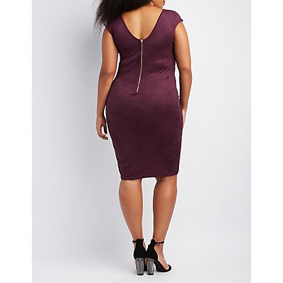 Plus Size Faux Suede Aymmetrical Bodycon Dress
