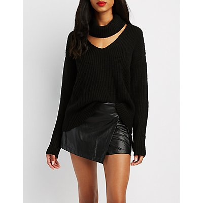 Cowl Neck Cut-Out Sweater