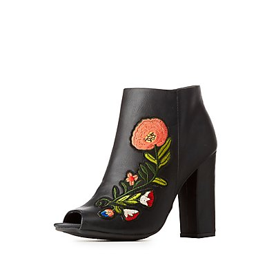 Bamboo Floral Patch Peep Toe Ankle Booties