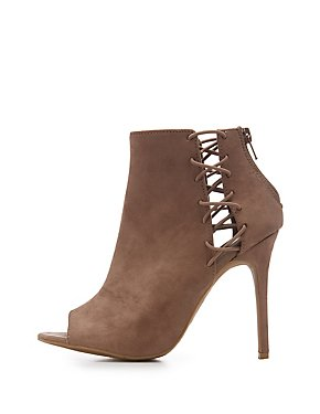 Faux Suede Caged Peep Toe Booties
