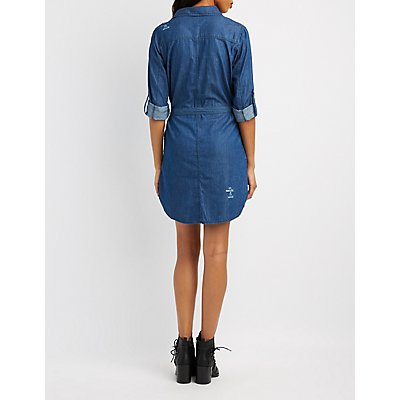 Destroyed Chambray Shirt Dress