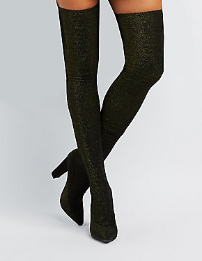 Bamboo Glitter Over-The-Knee Boots