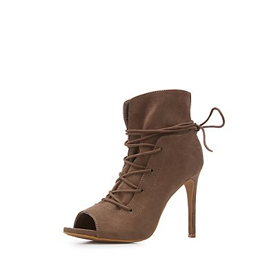 Faux Suede Peep Toe Lace-Up Dress Booties