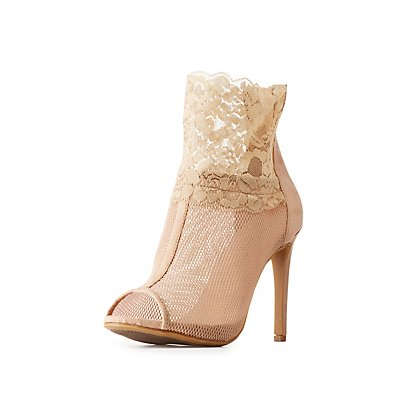 Lace & Mesh Peep Toe Booties