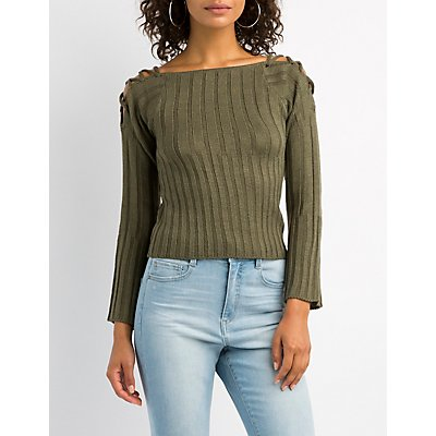 Lattice-Detail Cropped Sweater