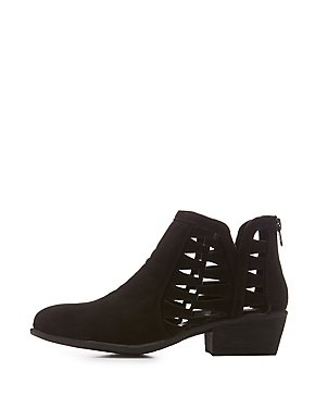 Bamboo Laser Cut-Out Ankle Booties