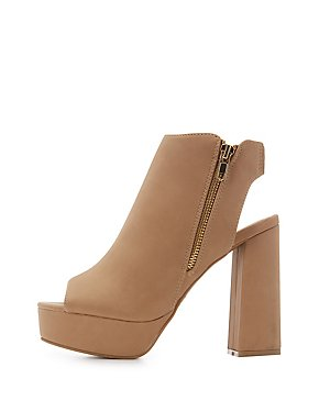Faux Nubuck Peep Toe Open-Toe Open-Back Booties