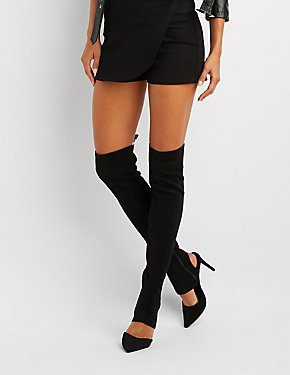 Pointed Toe Cut-Out Over-The-Knee Boots