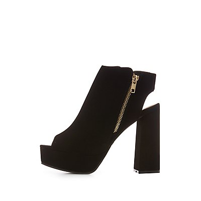 Faux Nubuck Open-Back Booties
