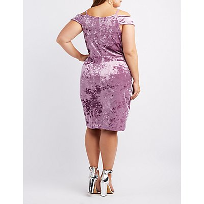 Plus Size Velvet Cold Shoulder Bodycon Dress