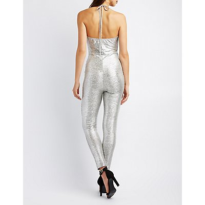 Metallic Halter Cowl Neck Jumpsuit