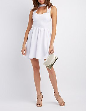 Lace-Trim Cut-Out Skater Dress
