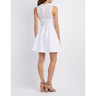 Lace-Trim Cut-Out Skater Dress