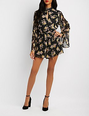 Floral Backless Bell Sleeve Romper