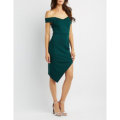 Off-The-Shoulder Asymetrical Bodycon Dress