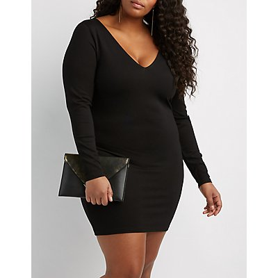 Plus Size Open-Back Bodycon Dress