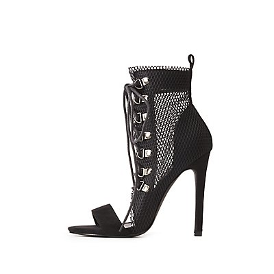 Mesh Lace-Up Peep Toe Booties