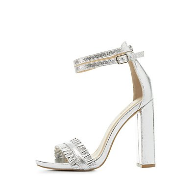 Metallic Ruffle-Trim Two-Piece Sandals