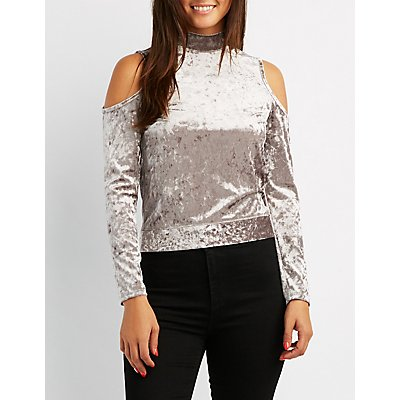Cold-Shoulder Velvet Mock Neck Top