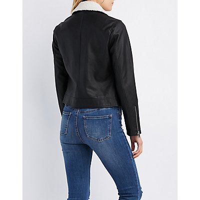 Faux Leather Sherpa Moto Jacket