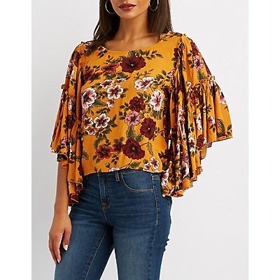Floral Ruffle-Trim Top