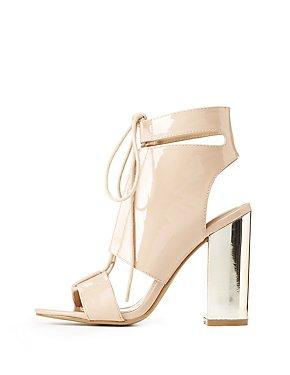 Metallic Heel Lace-Up Sandals