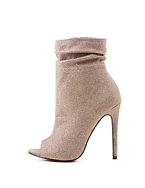 Shimmer Ruched Peep Toe Booties