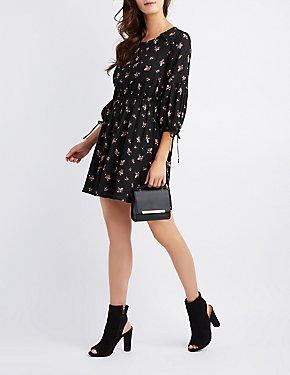 Floral Ruffle-Trim Tie-Sleeve Skater Dress