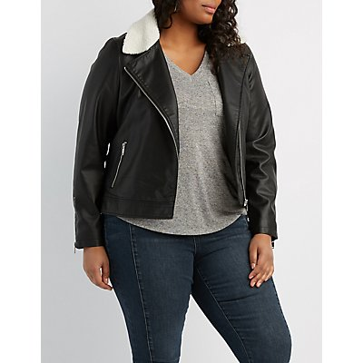 Plus Size Faux Leather Sherpa Moto Jacket