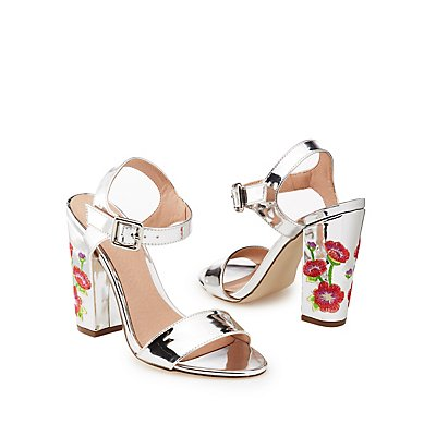 Metallic Floral Embroidered Sandals