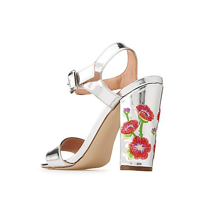 Metallic Floral Embroidered Two-Piece Sandals