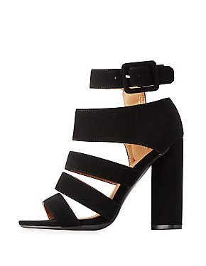 Qupid Caged Ankle Strap Sandals