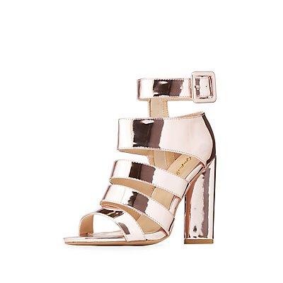 Qupid Caged Metallic Heels